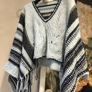FREE PEOPLE Hidden Valley Fringe Poncho Blue NWT
